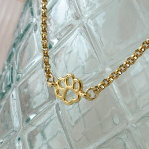golden necklace dog paw
